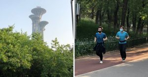 Right; the Olympic Tower; Left; Joggers wear face masks as they exercise in Beijing's Olympic Park (pictures taken 2020:04:28).